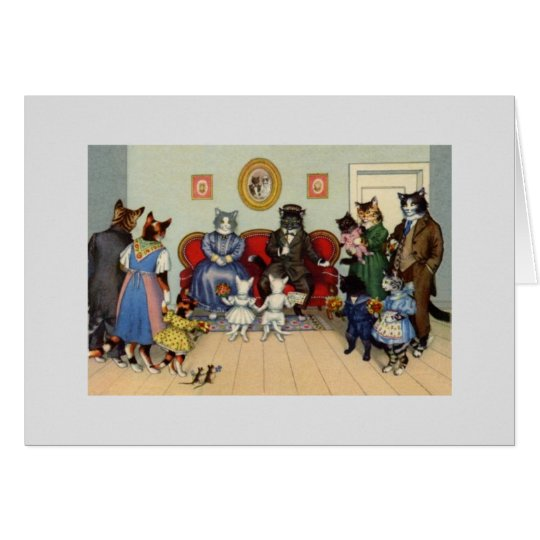 Vintage Cat Anniversary Celebration Greeting Card