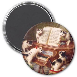 Vintage Cat Art:  Kittens' Recital 7.5 Cm Round Magnet