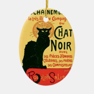 Vintage Cat Art, Le Chat Noir Ceramic Oval Decoration