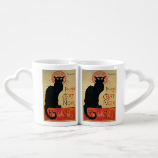 Vintage Cat Art Le Chat Noir Coffee Mug Set