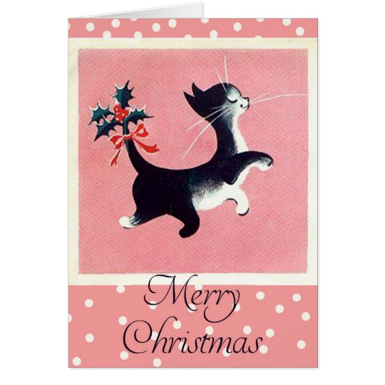 Vintage Cat Christmas Card