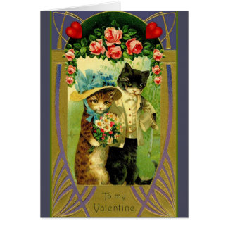 Vintage Cat Couple Valentine Greeting Card