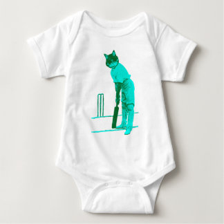 vintage cat cricketer green turquoise baby bodysuit