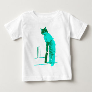 vintage cat cricketer green turquoise baby T-Shirt