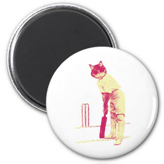vintage cat cricketer magnet