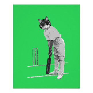 Vintage cat cricketer poster