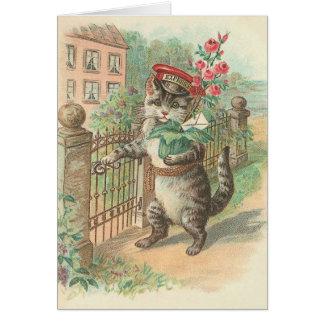 Vintage Cat Delivering Flowers Note Card