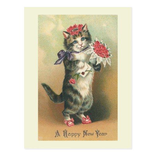 """Vintage Cat Happy New Year"" Postcard"