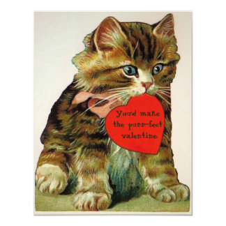 Vintage cat holding a valentine message card 11 cm x 14 cm invitation card