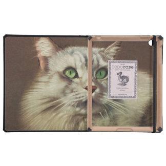 Vintage Cat Illustration, White Feline iPad Case
