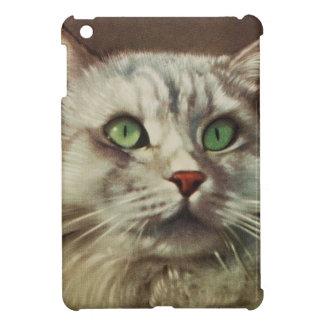 Vintage Cat Illustration, White Feline Cover For The iPad Mini