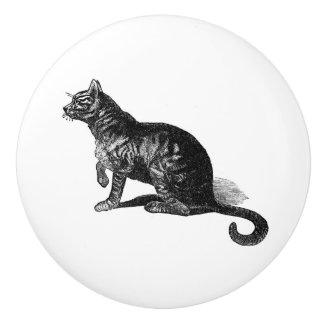 Vintage Cat in profile Vintage animal illustration Ceramic Knob