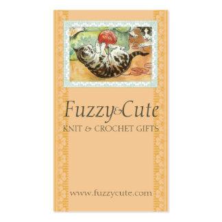 Vintage cat kitten playing w yarn knitting crochet business cards