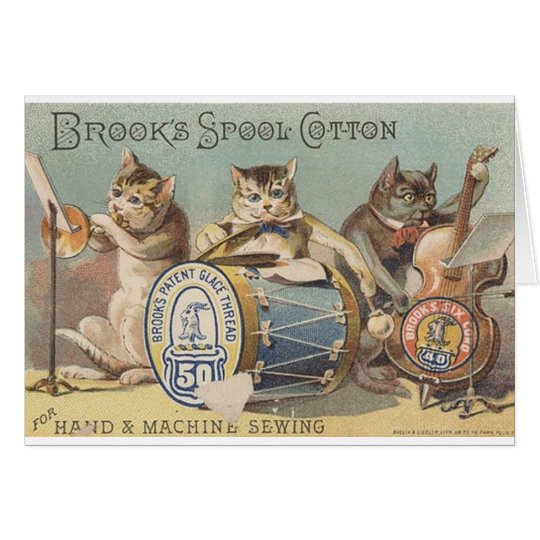 Vintage Cat Musical Trio In Thread Ad Note Card