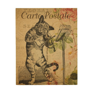 Vintage Cat Playing a Violin Wood Wall Decor