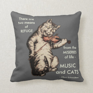 Vintage Cat Playing Fiddle Art Music Quote Cushion