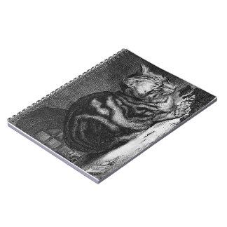 Vintage Cat Print Spiral Notebook