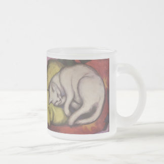 Vintage Cat Sleeping Frosted Glass Coffee Mug
