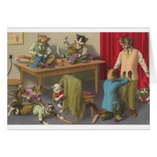 Vintage Cat Tailor Shop Note Card