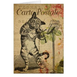 Vintage Cat Theme | Carte Postale | Cat & Fiddle Card