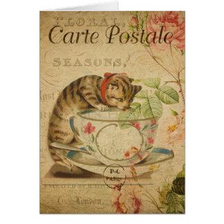 Vintage Cat Theme | Carte Postale | Cat & Teacup Card