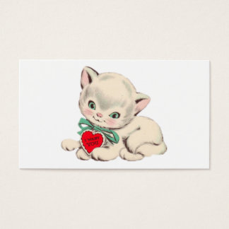 Vintage Cat Valentine's Day Valentine Business Card