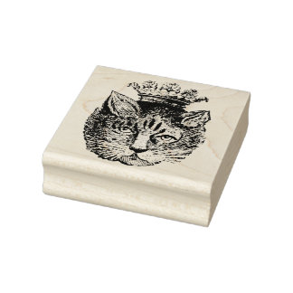 Vintage Cat Wearing Crown Rubber Art Stamp
