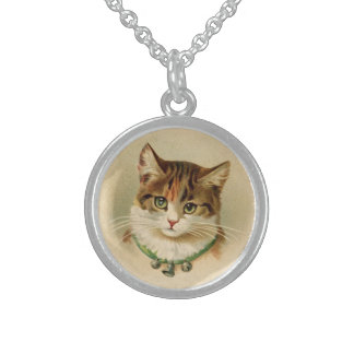 Vintage Cat with Bells Sterling Silver Necklace
