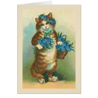 """""""Vintage Cat with Forget-me-nots"""" Card"""