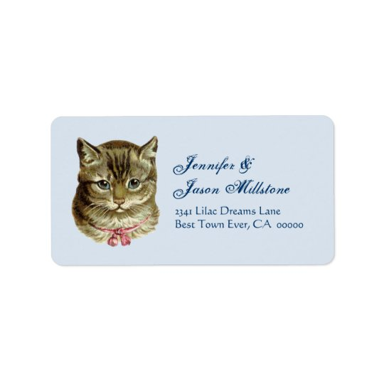 Vintage Cat with Pink Bow Address Label