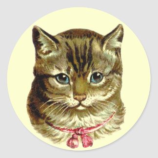 Vintage Cat with Pink Bow Round Sticker