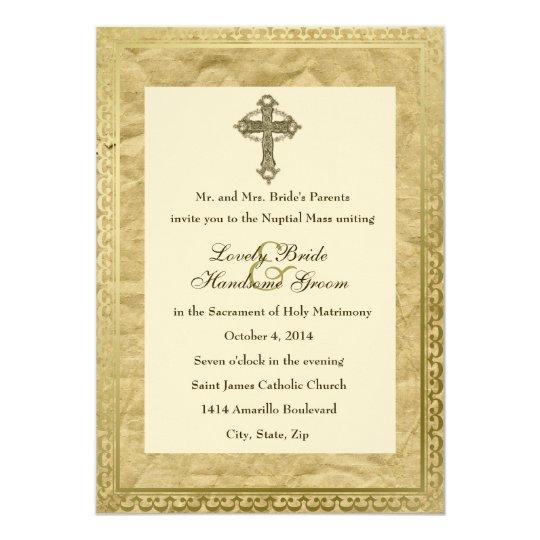 Vintage Catholic Cross Wedding Invitation