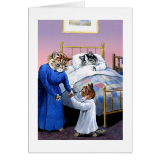 Vintage Cats Bedtime Card by Louis Wain
