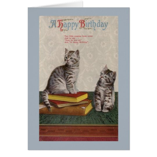Vintage Cats Birthday Greeting Card