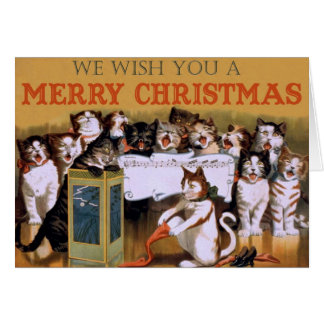 Vintage Cats Christmas Greeting Greeting Cards