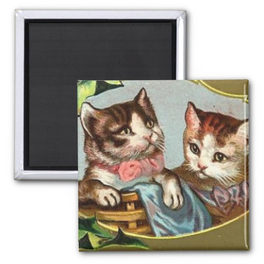 Vintage Cats Christmas Magnet