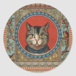 Vintage Cat's Life for Kitty Lovers Round Stickers