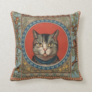 Vintage Cat's Life for Kitty Lovers Throw Pillow
