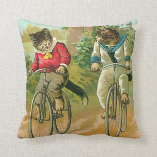 Vintage Cats on Bicycle Throw Pillow