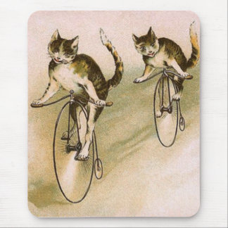 Vintage Cats on Bikes Mouse Mat