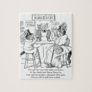 Vintage Cats on Stools Drinking Milk Puzzles