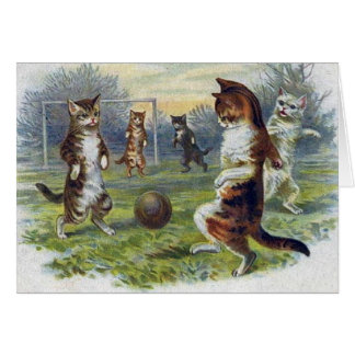 Vintage Cats Playing Soccer Card