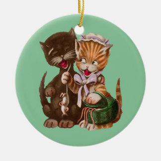 Vintage Cats Rat Gift Basket Christmas Ornament