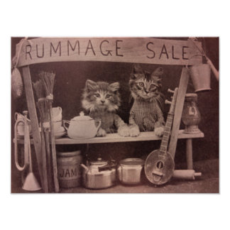 Vintage Cats Rummage Sale Poster