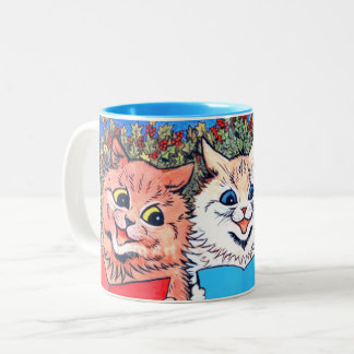 Vintage Cats Singing Christmas Carols #holidayz Two-Tone Coffee Mug