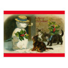 Vintage Cats Snow Man Merry Christmas Post Card