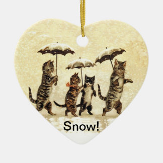 Vintage Cats Umbrellas Snow Christmas Ornament