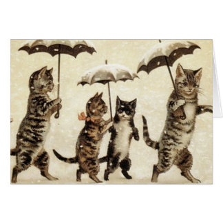 Vintage Cats Walking in the Snow. Greeting Card