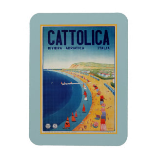 Vintage Cattolica beach Italian travel advertising Magnet
