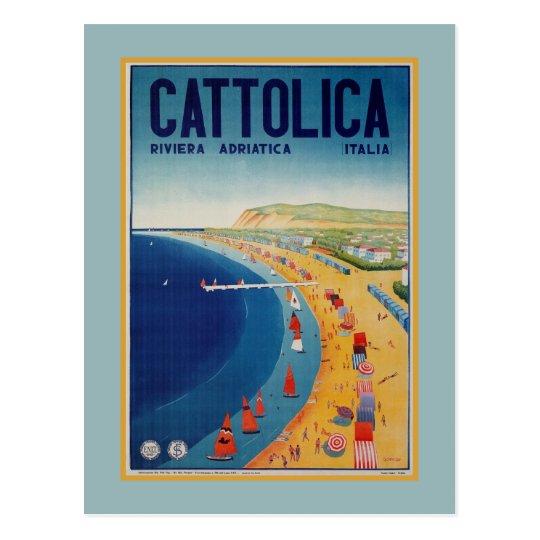 Vintage Cattolica beach Italian travel advertising Postcard